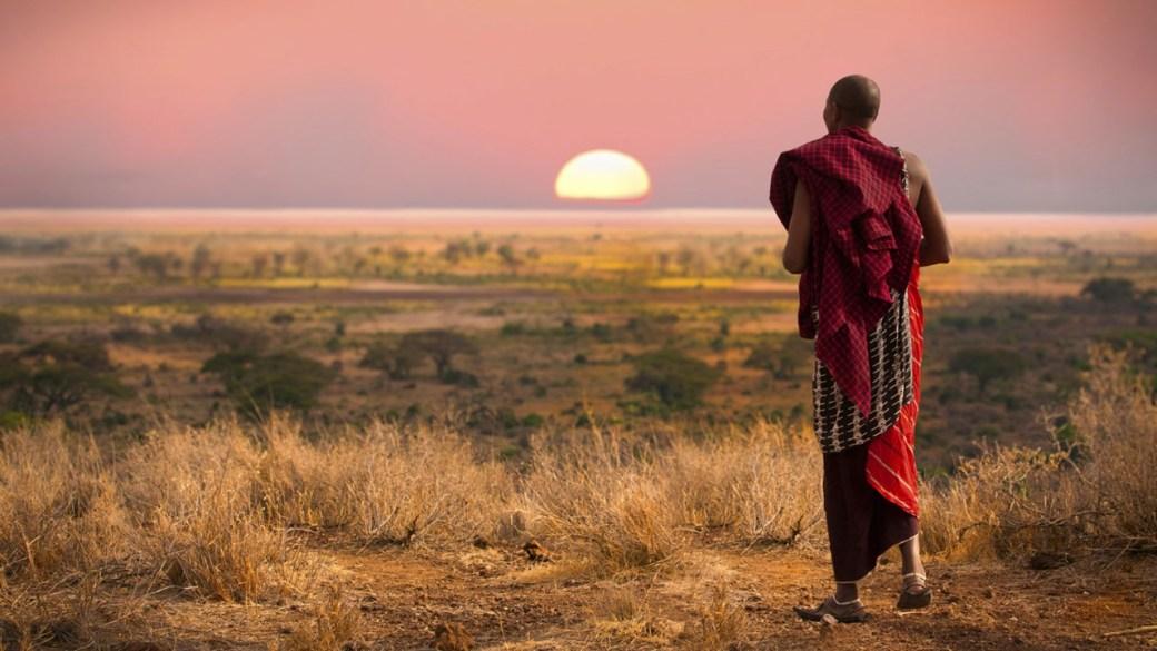 Masai-warrior-at-sunset
