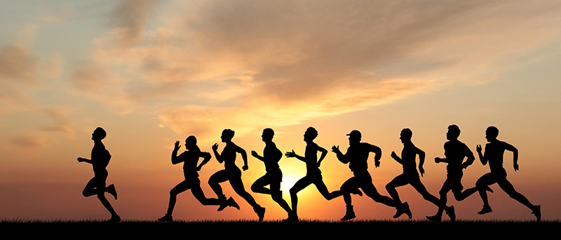 Marathon-Runners-Black-Silhouette-Sunset